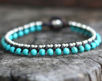 Simple Blue Silver Bracelet