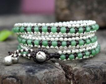 Jade Triple Wrap Silver Bracelet