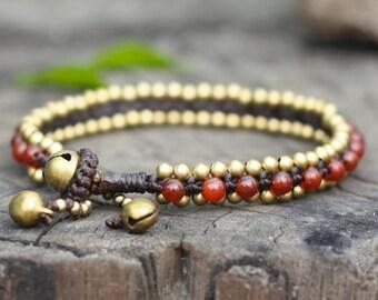 Carnelian Beads Brass Bracelet