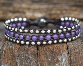 Purple Layer Silver Bracelet