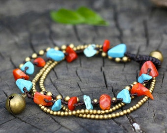 Mix Turquoise Coral Brass Chain Bracelet