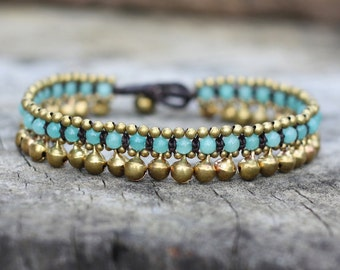 Amazonite Jingling Brass Anklet