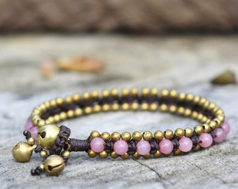 Cherry Quartz Bead Brass Bracelet