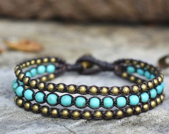 Turquoise Layer Brass Bracelet