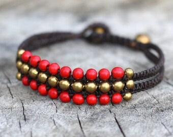 Sunday Red Brass Bracelet