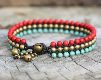 Turquoise and Red Turquoise Flat Brass Anklet