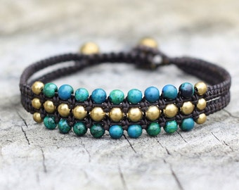 Chrysocolla Beach Brass Bracelet