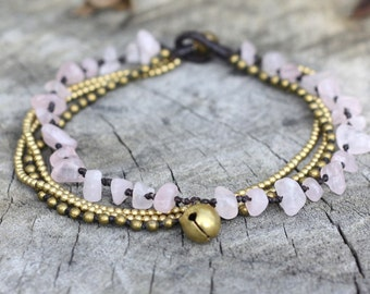 Rose Quartz Brass Chain Anklet