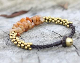 Sun Stone Brass Bracelet