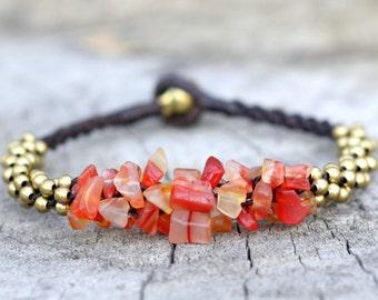Carnelian Stone Brass Bracelet