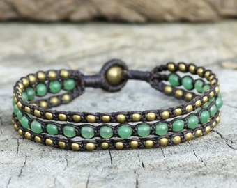 Jade Layer Brass Bracelet