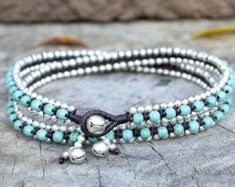 Turquoise Triple Wrap Silver Bracelet