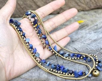 Lapis lazuli Brass Chain Necklace