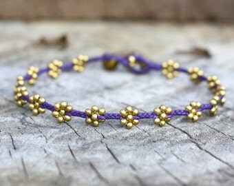 Flower Brass Purple Anklet