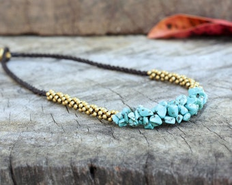 Turquoise Stone Brass Necklace