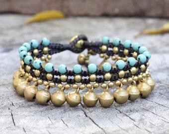 Turquoise Brass Bell Dangle Bracelet
