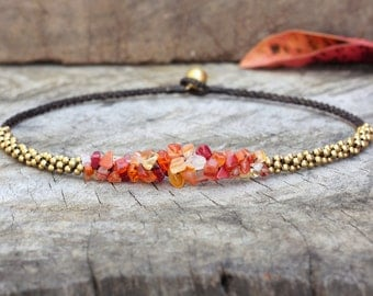 Carnelian Stone Brass Necklace
