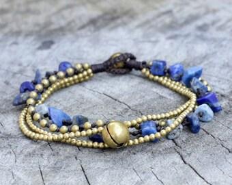 Lapis lazuli Brass Chain Bracelet