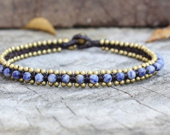 Sodalite Bead Brass Anklet