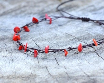 Simple Coral Anklet