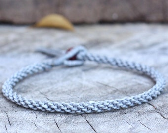 Simple Gray Woven Anklet