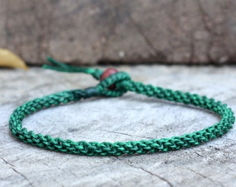 Simple Dark Green Woven Anklet