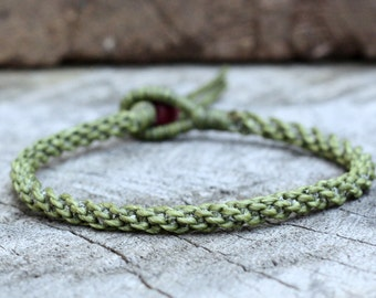 Simple Green Leaf Woven Unisex Bracelet