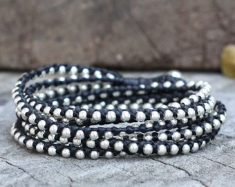Black Silver Hip Double Wrap Bracelet