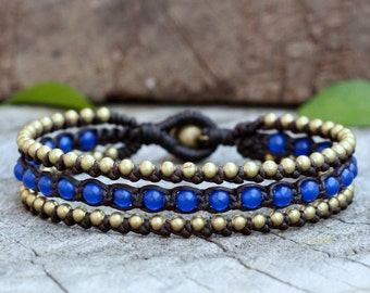 Blue Quartz Boho Brass Bracelet