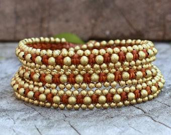 Brass Triple Wrap Rust Brown Bracelet