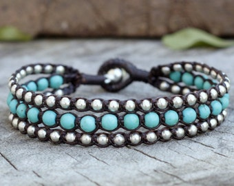 Turquoise Layer Silver Bracelet