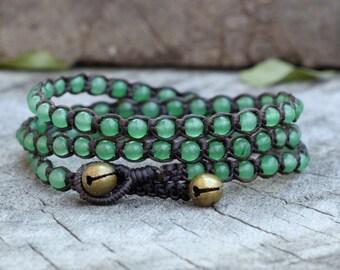 Jade Triple Wrap Bracelet