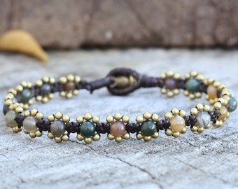 Elfin Fancy Jasper Brass Bracelet