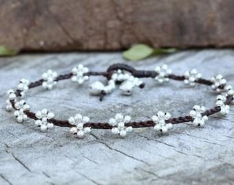 Flower Silver Anklet