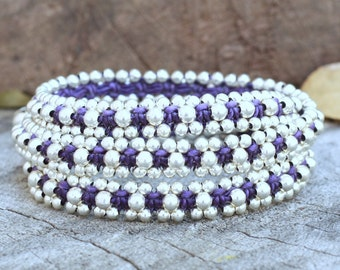 Silver Triple Wrap Purple Bracelet