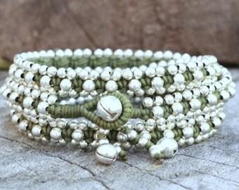 Silver Triple Wrap Green Leaf Bracelet