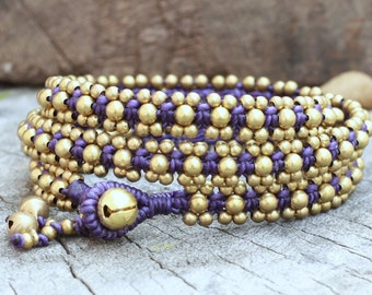 Brass Triple Wrap Purple Bracelet