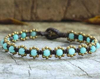 Elfin Amazonite Brass Bracelet
