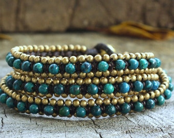 Chrysocolla Triple Wrap Brass Bracelet
