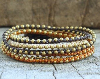 Robin Brass Hip Double Wrap Bracelet