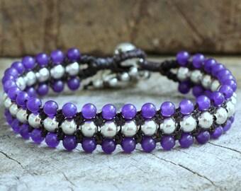 Purple Flat Silver Bracelet