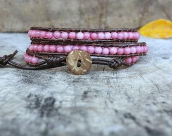 Pink Milk 3 Leather Wrap Bracelet, coconut button