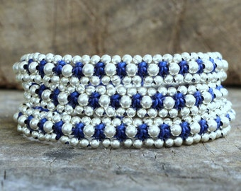 Silver Triple Wrap Dark Blue Bracelet