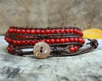 Coral Leather Wrap Bracelet