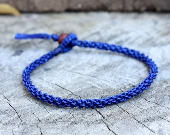 Simple Dark Blue Woven Anklet