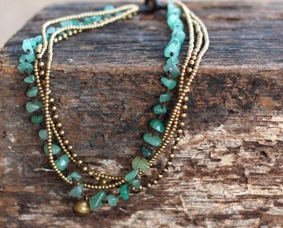 Jade Brass Chain Necklace
