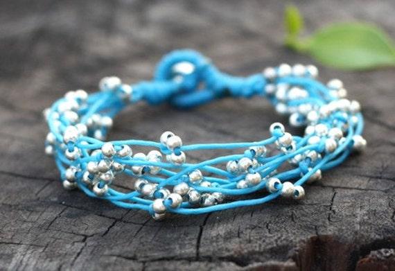 Blue Silver Bind Bracelet