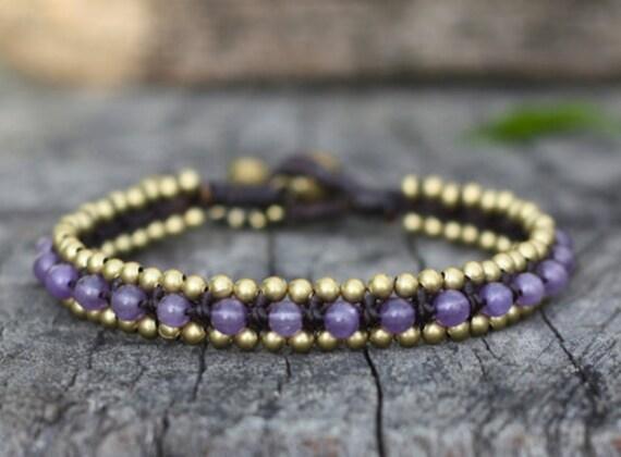Purple Bead Brass Bracelet