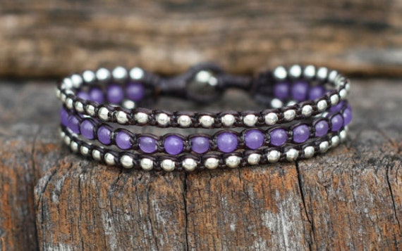 Purple Layer Silver Bracelet