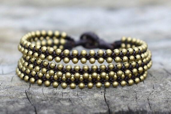 Triple Woven Brass Bracelet